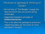 influence of geological thinking on darwin