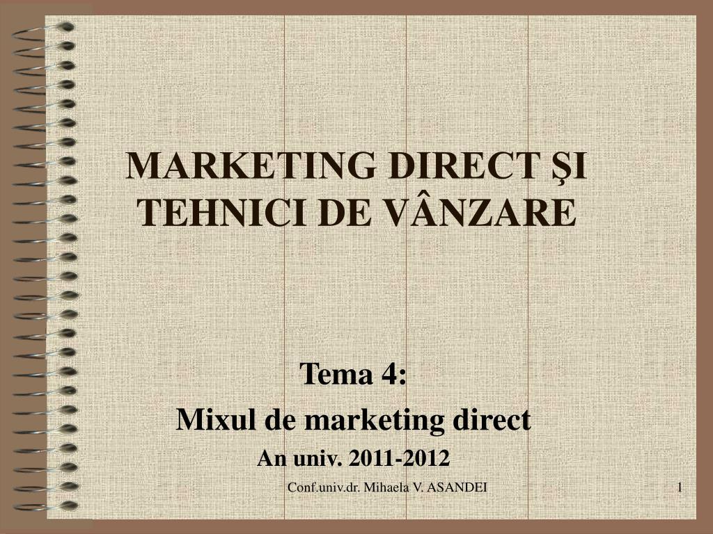 marketing direct i tehnici de v nzare l.