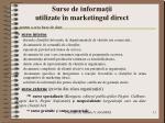 surse de informa ii utilizate n marketingul direct