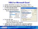 vb6 0 or microsoft excel11