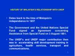 history of malaysia s relationship with undp