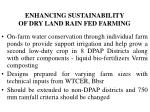enhancing sustainability of dry land rain fed farming