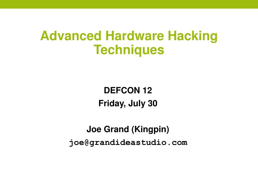 advanced hardware hacking techniques l.