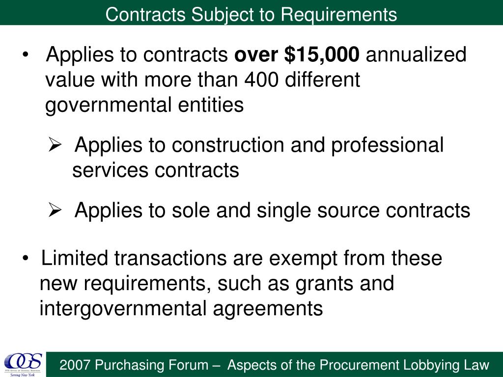 Contracts Subject to Requirements