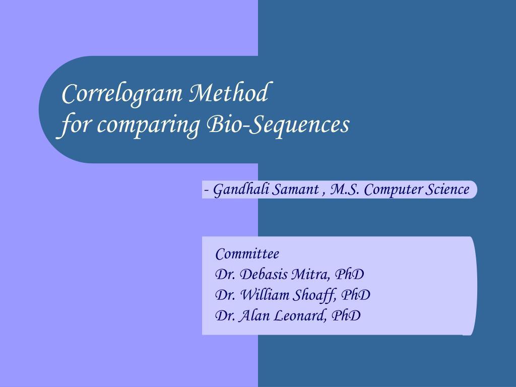 correlogram method for comparing bio sequences l.