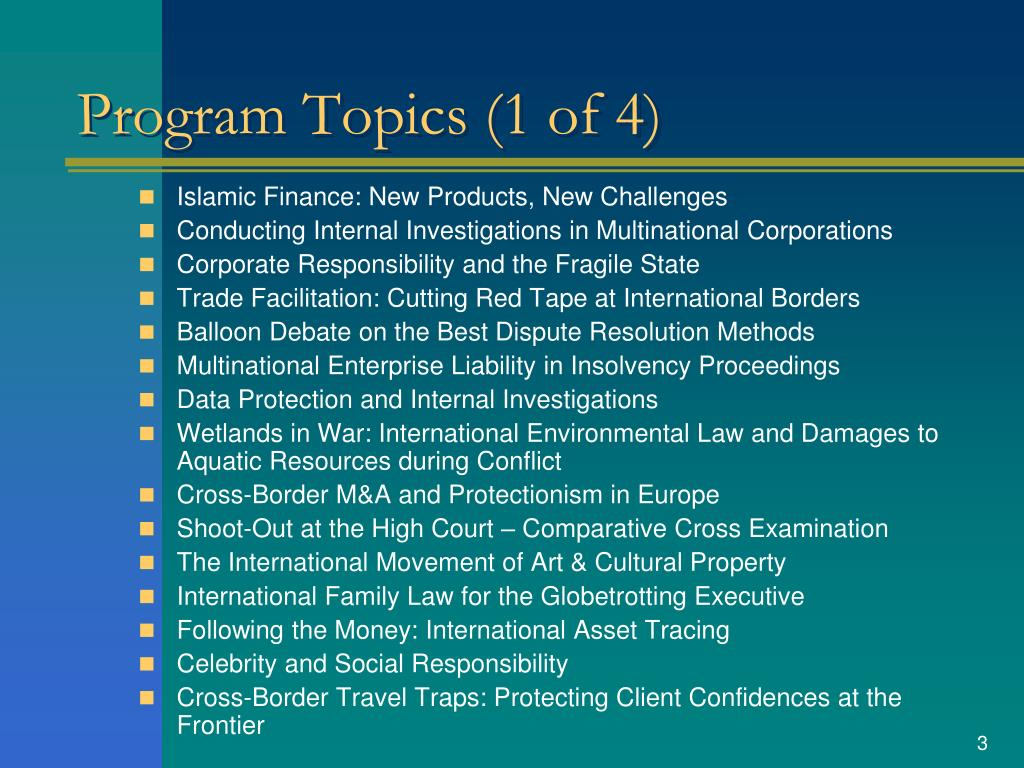 Program Topics (1 of 4)