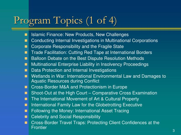 Program topics 1 of 4