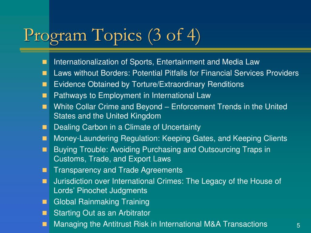 Program Topics (3 of 4)