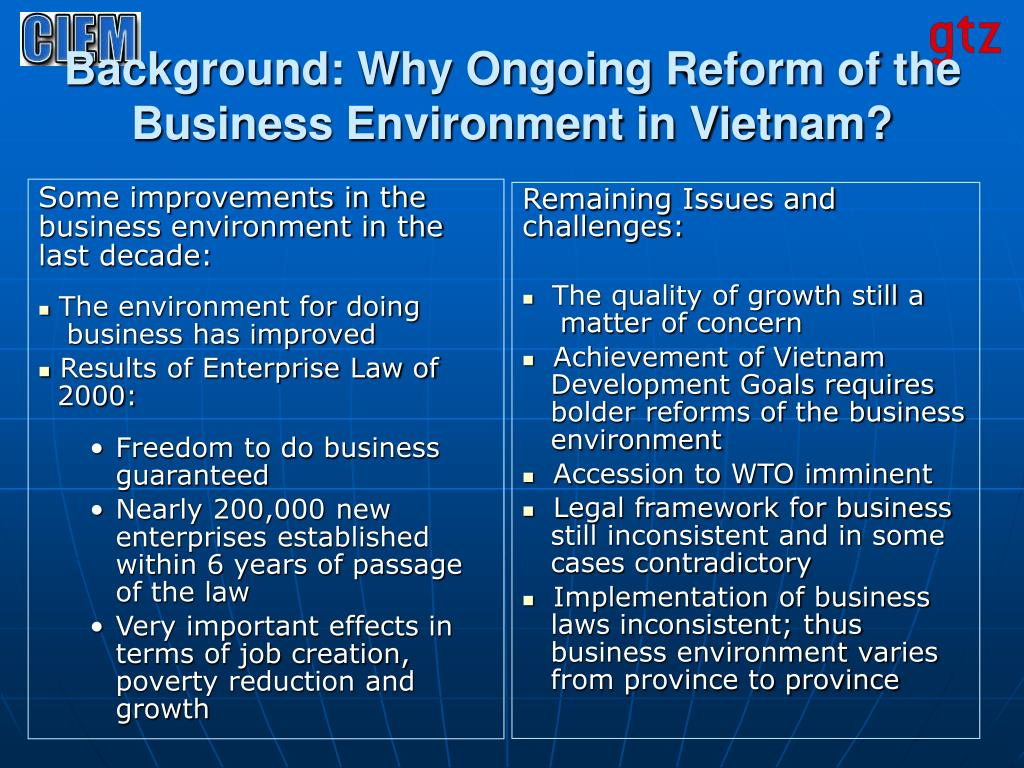 Background: Why Ongoing Reform of the Business Environment in Vietnam?