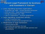 current legal framework for business and investment in vietnam