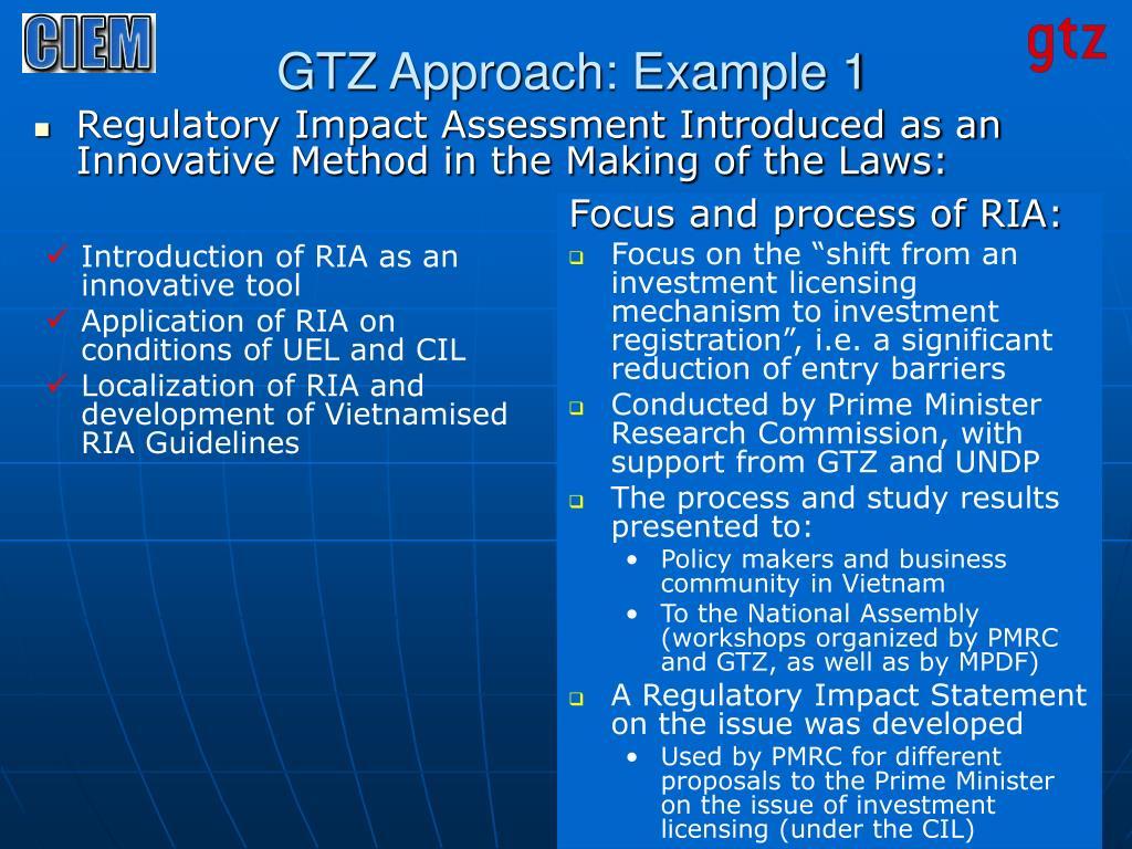GTZ Approach: Example 1