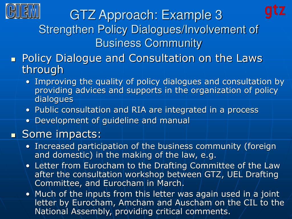 GTZ Approach: Example 3