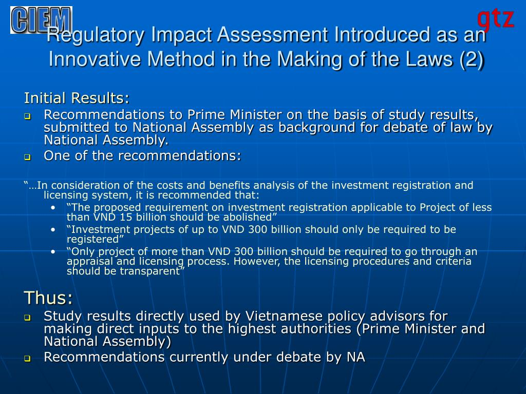 Regulatory Impact Assessment Introduced as an Innovative Method in the Making of the Laws (2)