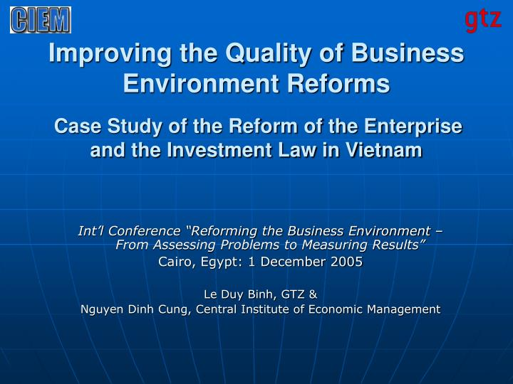 Improving the Quality of Business Environment Reforms
