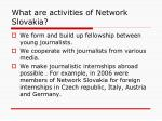 what are activities of network slovakia10