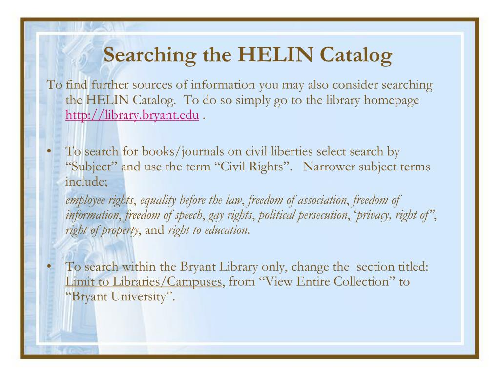 Searching the HELIN Catalog