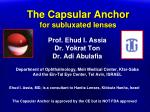 the capsular anchor for subluxated lenses
