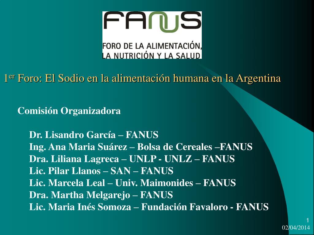 1 er foro el sodio en la alimentaci n humana en la argentina l.