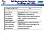 self regenerative systems seedlings and sbirs
