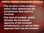 a unified command organization depends on
