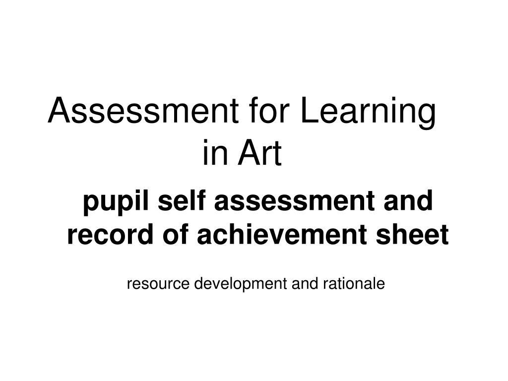 assessment for learning in art l.