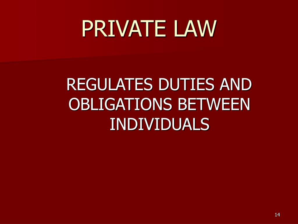 REGULATES DUTIES AND OBLIGATIONS BETWEEN INDIVIDUALS