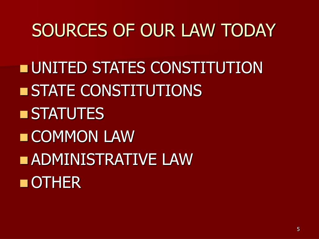 SOURCES OF OUR LAW TODAY