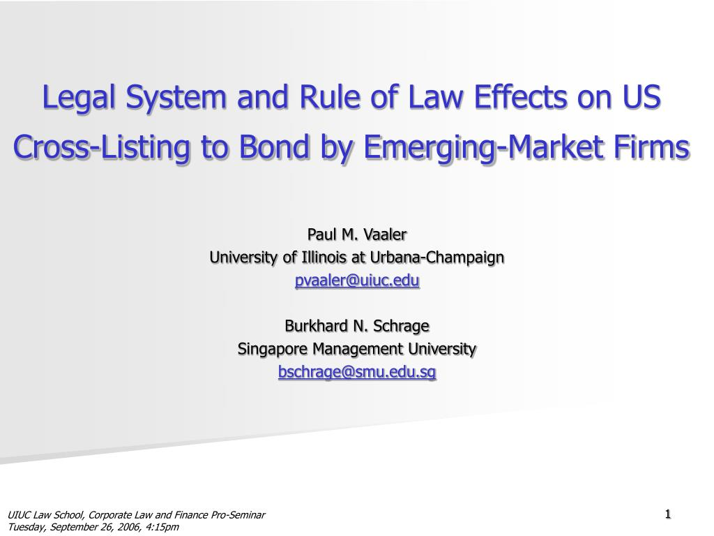 legal system and rule of law effects on us cross listing to bond by emerging market firms l.
