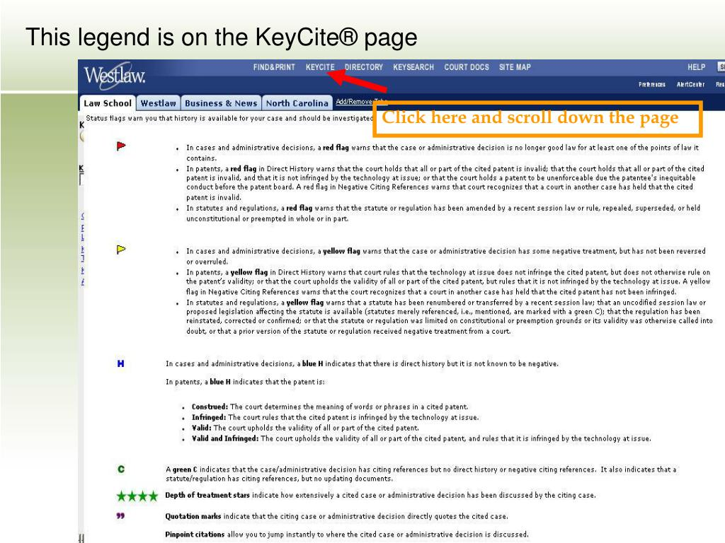 This legend is on the KeyCite® page