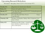 upcoming research refreshers