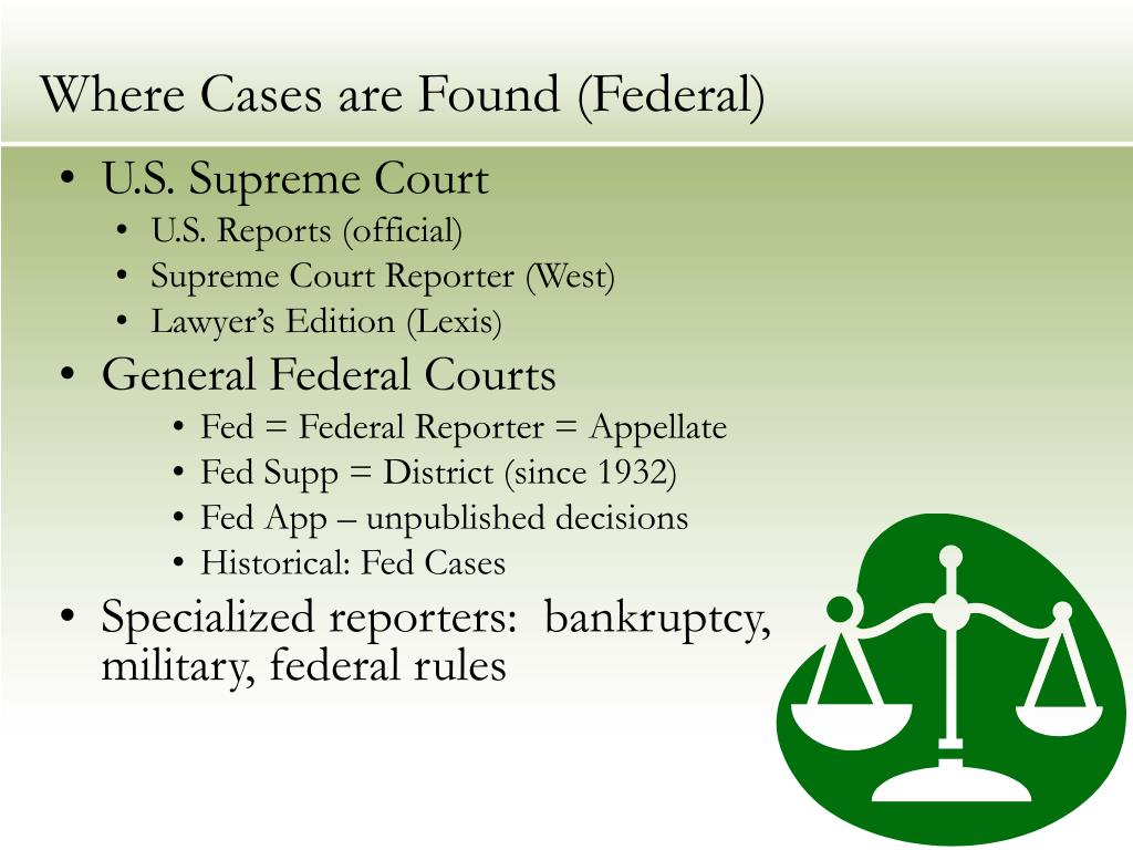 Where Cases are Found (Federal)