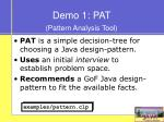 demo 1 pat pattern analysis tool