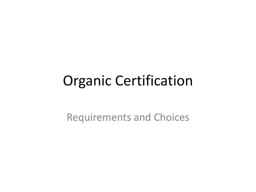 organic certification l.