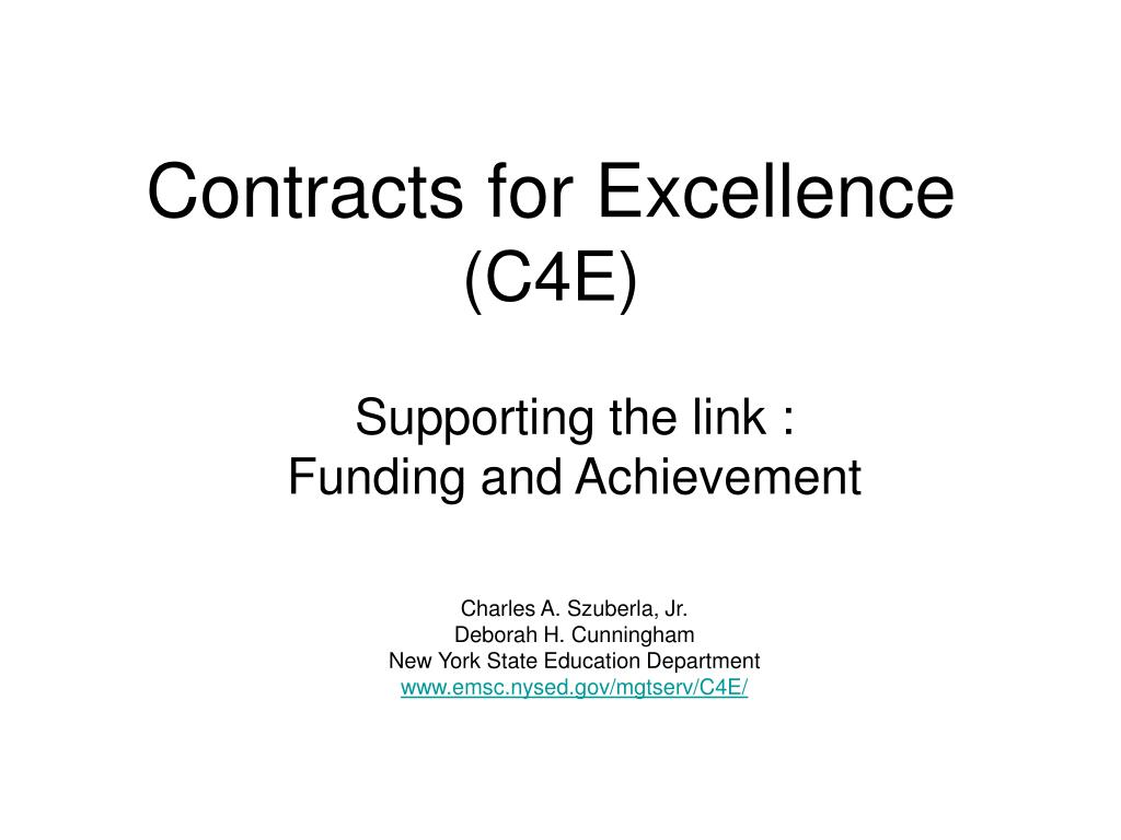 contracts for excellence c4e l.