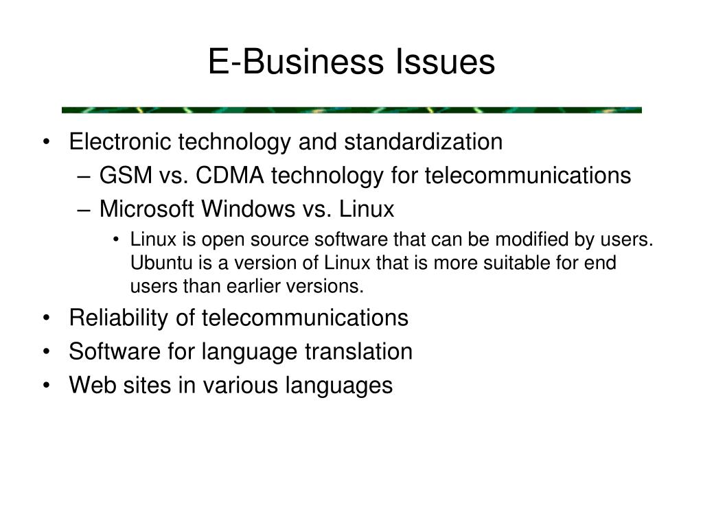 E-Business Issues