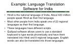 example language translation software for india
