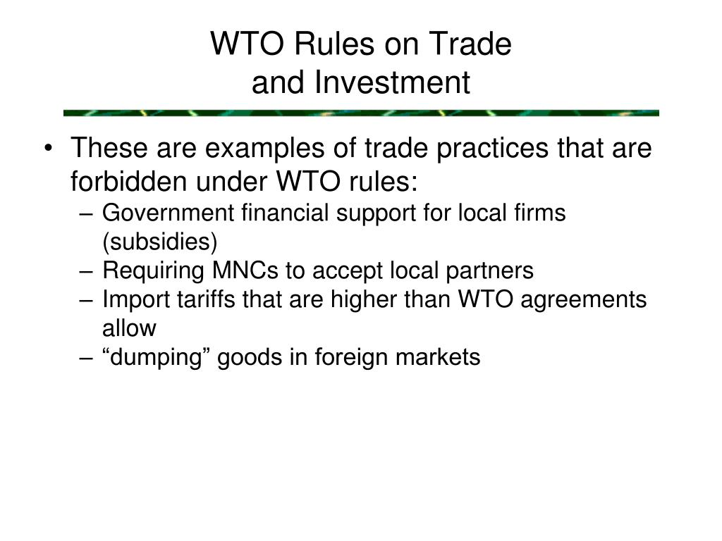 WTO Rules on Trade