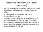telephone networks after 1996 continued