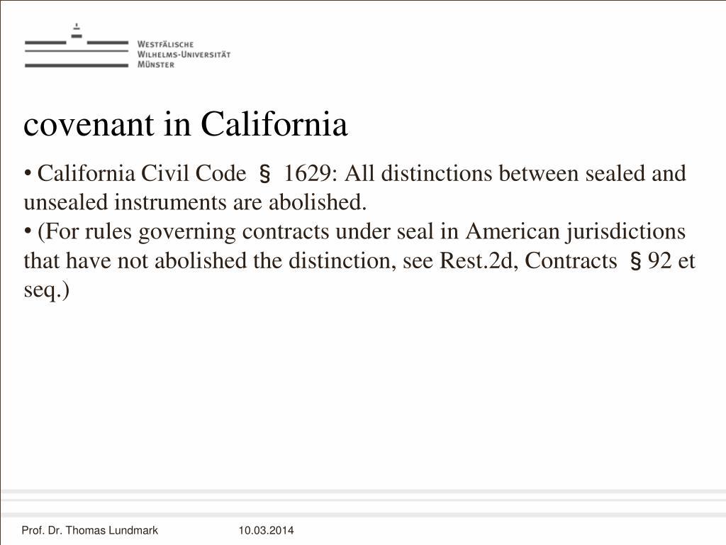 covenant in California