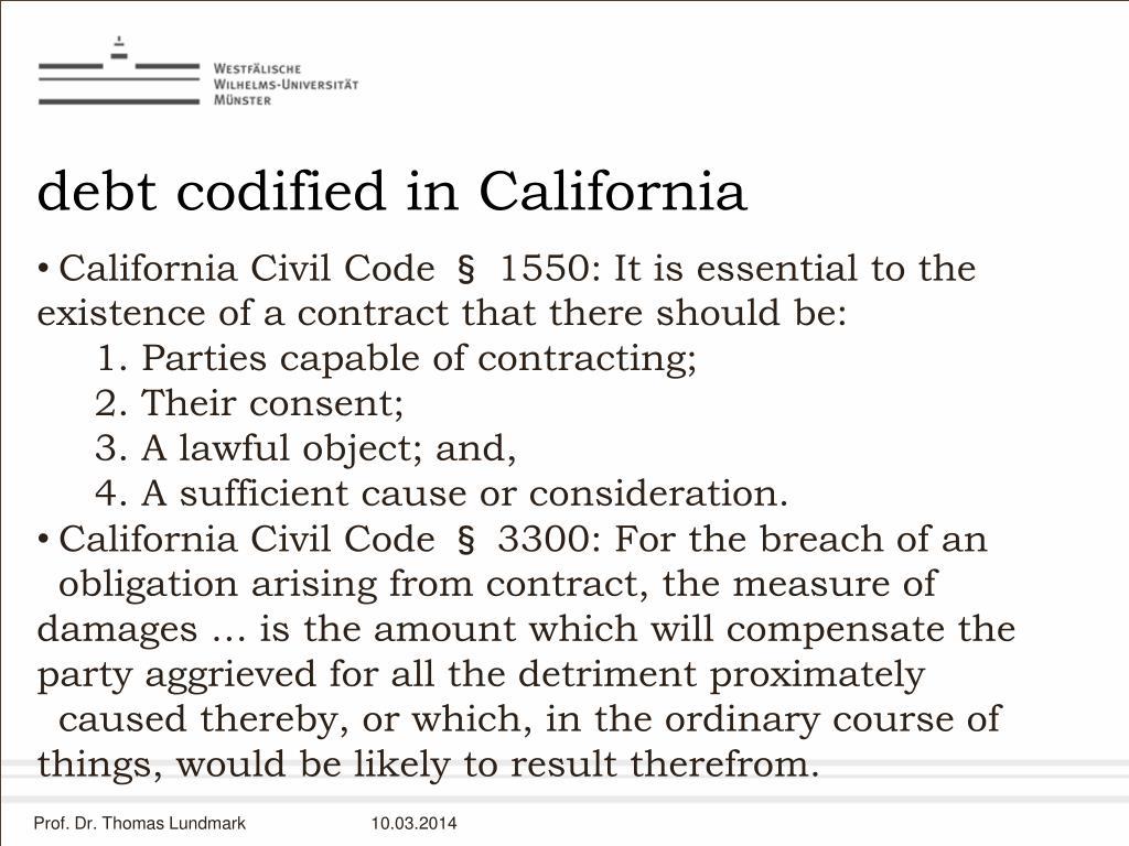 debt codified in California