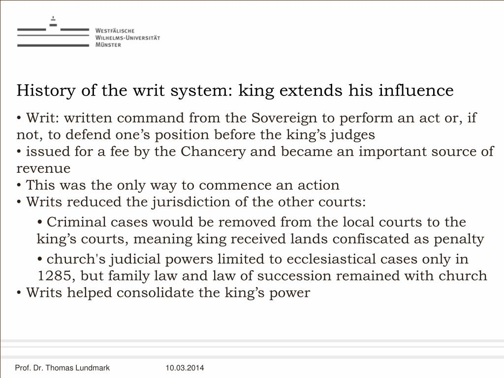 History of the writ system: king extends his influence