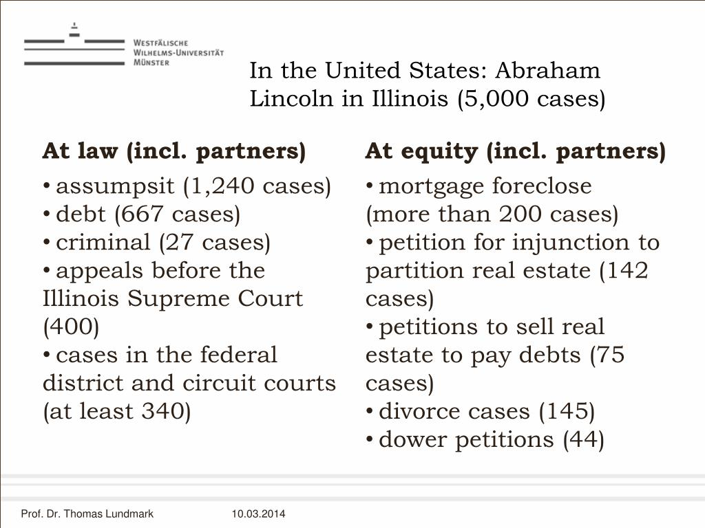 In the United States: Abraham Lincoln in Illinois (5,000 cases)