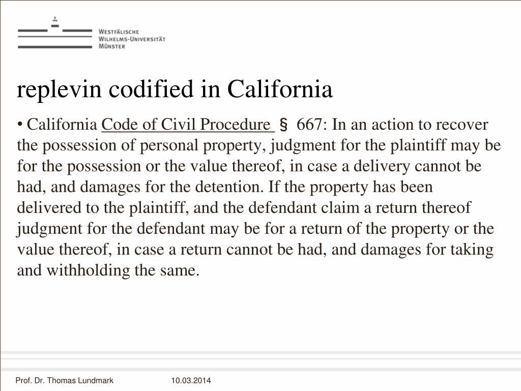 replevin codified in California