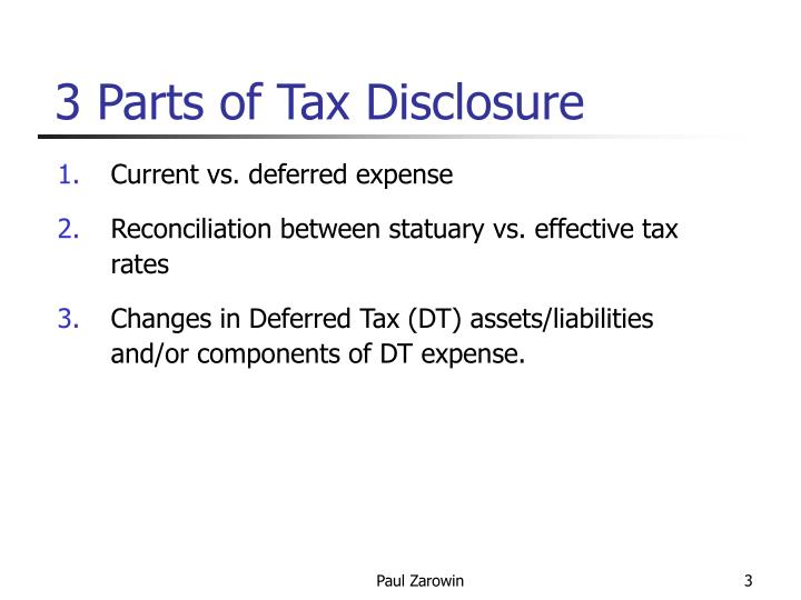 3 parts of tax disclosure