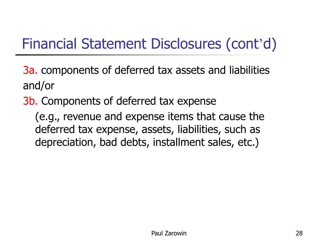 Financial Statement Disclosures (cont