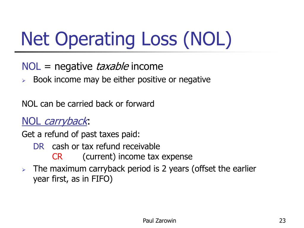 Net Operating Loss (NOL)