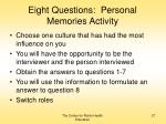 eight questions personal memories activity