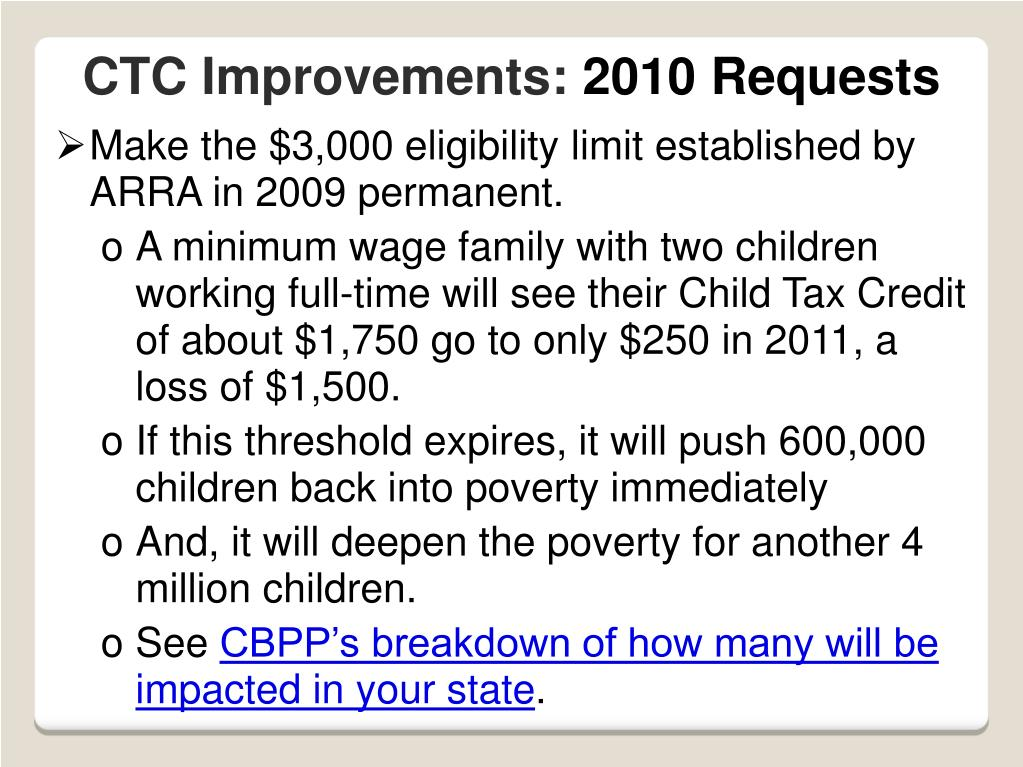 Make the $3,000 eligibility limit established by ARRA in 2009 permanent.