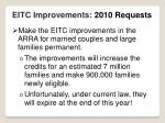 eitc improvements 2010 requests