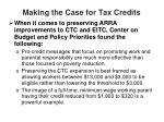 making the case for tax credits
